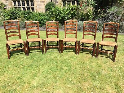 Stunning Set 17C / 18C Ladder Back Rush Seat Chairs English Ash Antique Six