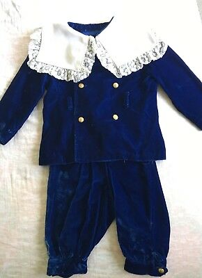 suit Lord Fauntleroy boy child blue Velvet