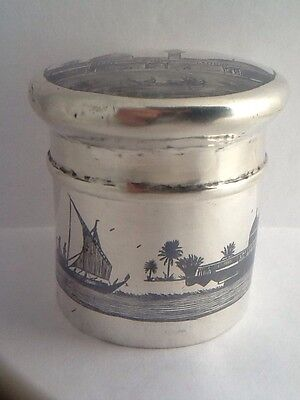 Rare Vintage Antique Egyptian Solid Silver Cylindrical Trinket Box
