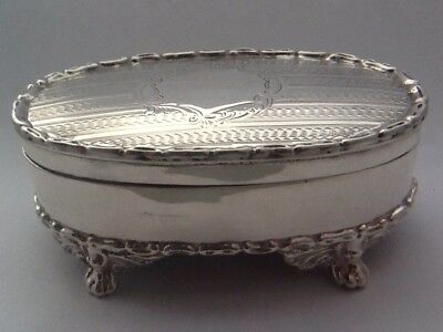 Beautiful Antique Solid Silver Oval Trinket Box - Chester 1906