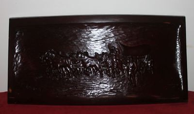 Vintage solid wood carving lacquered -  Canadian settlers - Western Theme horses
