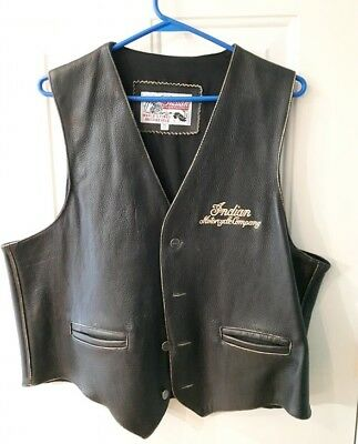 Indian Motorcycle Company Top Grain Leather Vest Xl Extra Large
