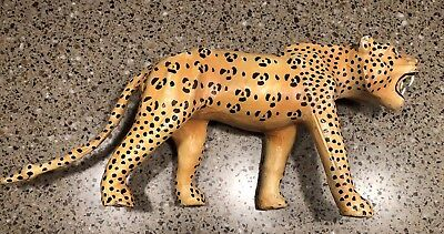 """Leather Wrapped Cheetah Statue 13"""" Long X 7"""" High Rare Nice One Of Kind Tiger"""
