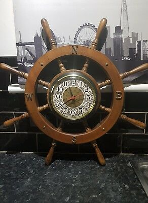 VINTAGE 1960s  -LARGE SHIPS WHEEL -- CLOCK - COMPASS LETTERS -- see photos