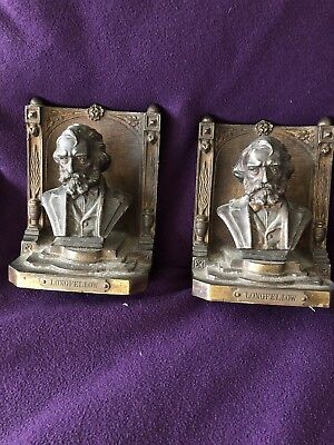 Antique 1920's  Bradley and Hubbard Longfellow Bookends, B&H Cast Iron Bookends