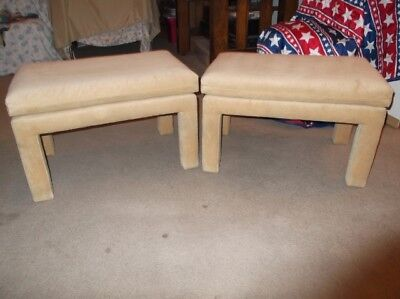 PAIR OF VINTAGE MID CENTURY DREXEL UPHOLSTERED BENCHES-Milo Baughman style