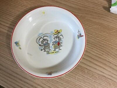 Pixie & Dixie Huckleberry Hound Ridgway  Potteries Bowl Pre Owned