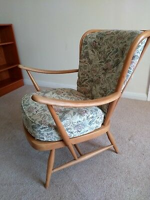 Ercol Easy Chair Windsor Double Bend Low Back 477 mid century retro Blonde