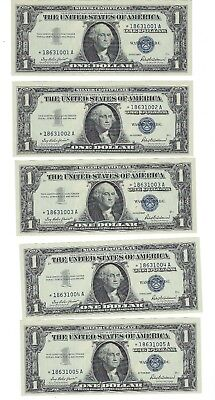 Five (5) Gem Uncirculated Sequential 1957 $1 One Dollar Star Silver Certificates