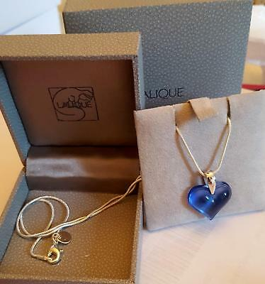"Pendant Stunning Lalique Pretty Blue   Small Heart Silver 18 "" Chain Outstanding"