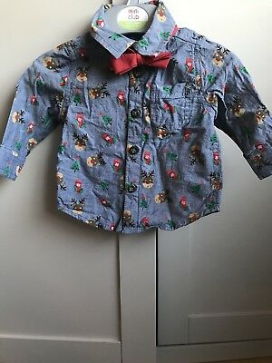 F&F Baby Boys Christmas Shirt Rudolph With Bow Tie 0-3 Months Worn Once