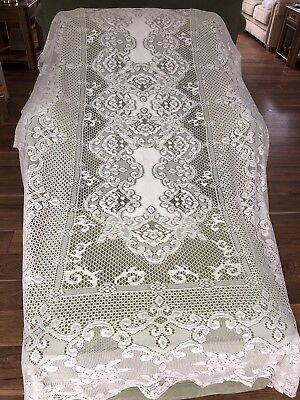 """White Lace Tablecloth 62"""" X 104"""" Floral Design,roses.unbranded"""