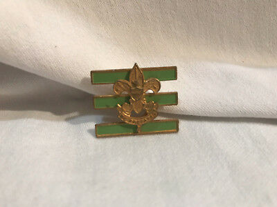 Vintage 1940s Boy Scouts Be Prepared JR Assistant Scoutmaster Pin 3 Green Bars