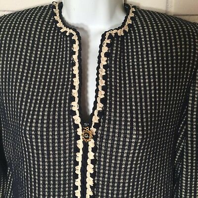 St. John Collection Marie Gray Navy Blue Beige Plaid Zip Up Knit Blazer Jacket 2