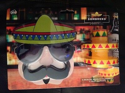 MEXICAN SOMBRERO SHOT GLASSES TEQUILA SLAMMERS With Sunglasses 9bc3aec997b0