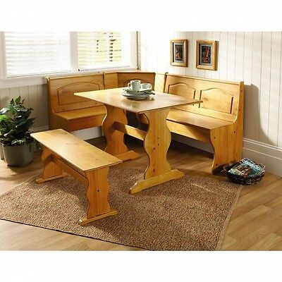 Kitchen Table Set Nook Corner Bench Booth Solid Wood Dining Breakfast Chair
