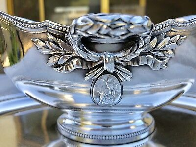 "Christofle Antique Silver Plated Empire Large Gravy Sauce Boat ""Rare"""