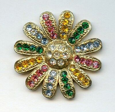 SPECTACULAR LG VINTAGE metal FLOWER button with 56 COLORED GLASS RHINESTONES