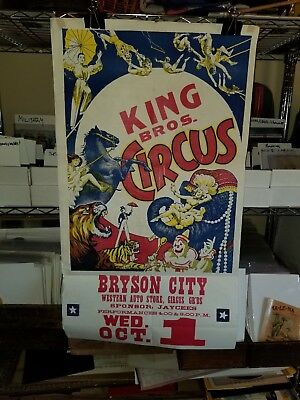 Vintage Carnival Circus Poster King Bros. 1950s Bryson City Western Auto Stores