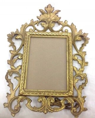 Vintage Cast Meta & Gold Gilt Ornate Rococo Style Standing Picture Frame Easel