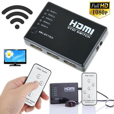 5 Port Video HDMI Switch Switcher Splitter 1080P  for HDTV DVD PS3 + IR Remote