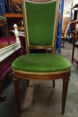 louis XV french high back green velvet antique chair 4 available rare unique