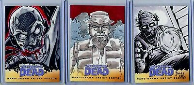 2013 The Walking Dead Hand-Drawn Artist Sketch Lot of 3 All 1/1