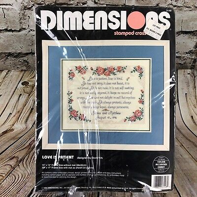 Cross Stitch Kit Dimensions Love is Patient Personalized Sign #70-65144 OOP SALE