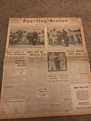 Walter Johnson Day Babe Ruth 1926 Newspaper Sports Section Baseball