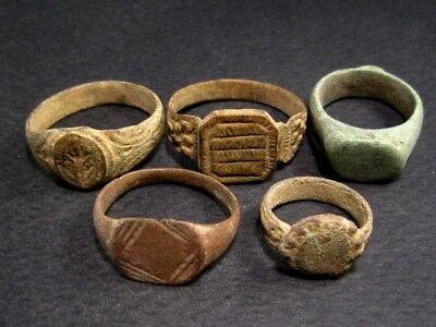 LOT of 5 pcs. ANCIENT ROMAN, BYZANTINE AND MEDIEVAL FINGER RINGS!