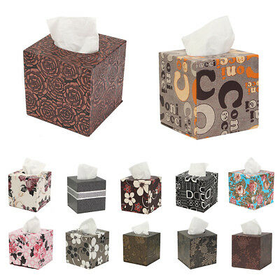 Square Leather Home Room Car Hotel Tissue Box Cover Paper Napkin Holder Cas L5E3