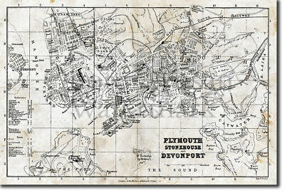 Vintage Map of Plymouth From 1879 Photo Print Poster Gift Old Ancient Historic