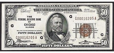 1929 $50 Federal Reserve Bank of Chicago Note
