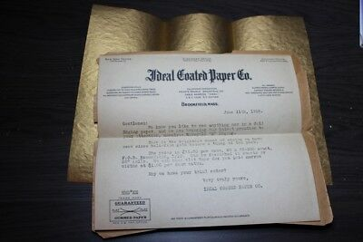 IDEAL COATED PAPER CO Gold Edging sample 1918 Postal History #490 Brookfield MA
