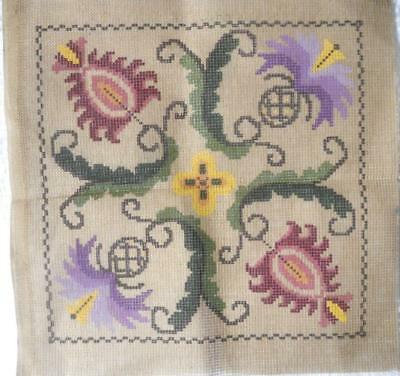 Unused Vintage Gobelin Printed Tapestry Canvas Jacobean Style Design 27 X 27 Cm