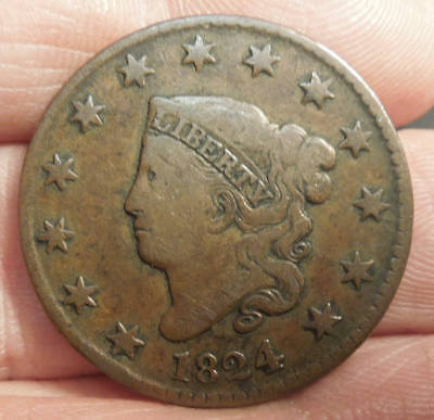 1824 Matron Head Large Cent - Nice Color & Detail - Nice Coin!!