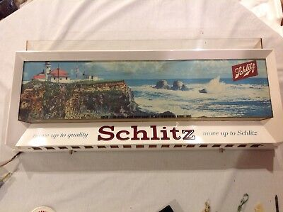 """Vintage 1958 Schlitz Beer Lighted Sign """"Move Up To Quality, Move Up To Schlitz"""""""