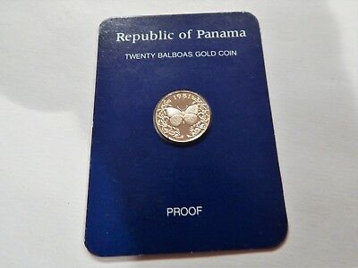 1981 Panama 20 Balboa Butterfly Proof Gold Coin in ORIGINAL Card as issued