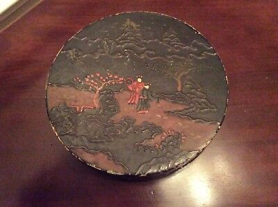 Asian Black Laquer Hand Painted Wood Box