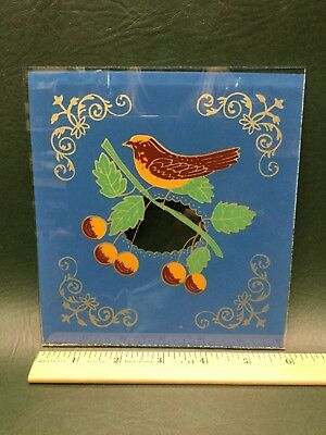 """NOS Eglomise Reverse Painted Clock Glass for Clock 6"""" x 6.5"""" ~ Bird on Branch"""