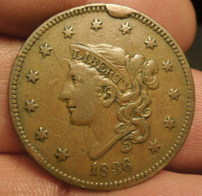 1836 Matron Head Large Cent - Nice Color & Detail - Obv Cud - Nice Coin!