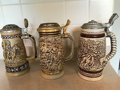 Avon Lot Beer Steins Indians American Frontier, Gold Rush, 1980 Cowboy