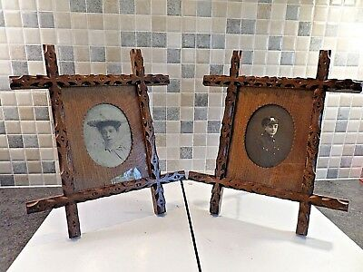Antique Pair Arts & Crafts Hand Carved Solid Oak Oxford Photo Frames With Glass