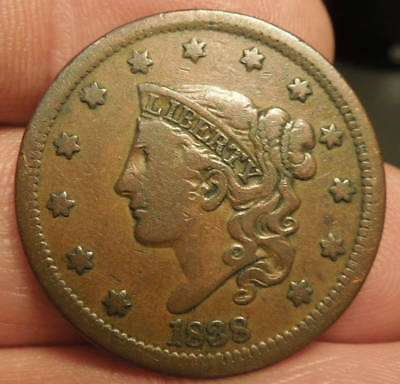1838 Matron Head Large Cent - Nice Color & Detail  - Nice Coin!