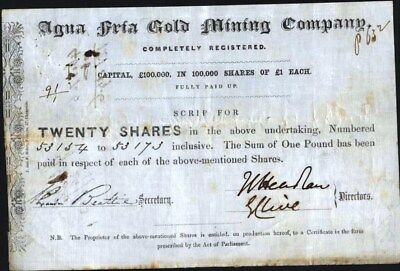 Agua Fria Gold Mining Co, 1853 English Stock Certificate On Velleum Like Paper