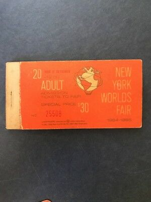 1964-65 New York World's Fair Adult Admission Ticket Booklet No 25508