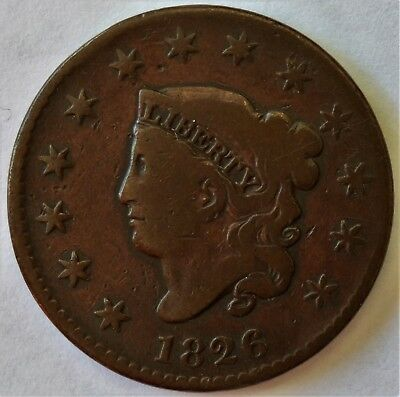 1826 Coronet Head Large Cent, N9, R3, Vf, Combined Ship