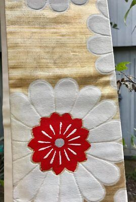 """Vintage Japanese Heavy Embroidered Silk Obi, ca1950,  136"""" x 12"""", tacked to 6"""" w"""