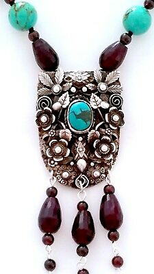'german Vintage 925 Silver Necklace: Turquoise/ Mozambique Garnet Gemstones