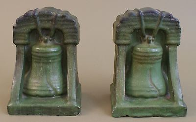 Denver Terra Cotta 1910's Curdled Matte Green Glaze Liberty Bell Pr Bookends